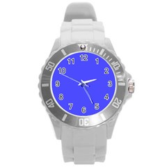 Bright Electric Fluorescent Blue Neon Round Plastic Sport Watch (L)