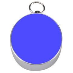 Bright Electric Fluorescent Blue Neon Silver Compasses