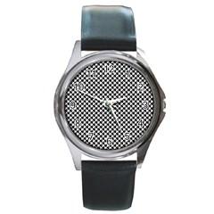 Black and White Checkerboard Weimaraner Round Metal Watch
