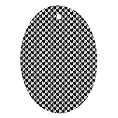 Black and White Checkerboard Weimaraner Oval Ornament (Two Sides)