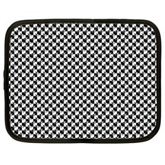 Black and White Checkerboard Weimaraner Netbook Case (Large)