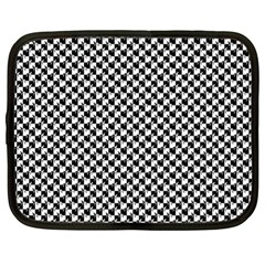Black and White Checkerboard Weimaraner Netbook Case (XL)
