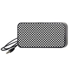 Black and White Checkerboard Weimaraner Portable Speaker (Black)