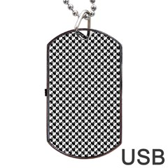Black and White Checkerboard Weimaraner Dog Tag USB Flash (One Side)