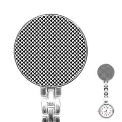 Black and White Checkerboard Weimaraner Stainless Steel Nurses Watch