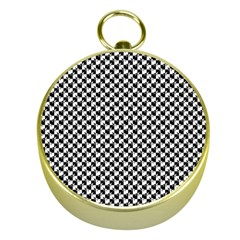 Black and White Checkerboard Weimaraner Gold Compasses