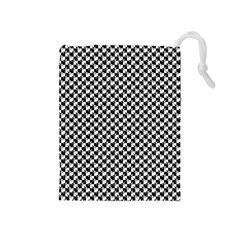 Black and White Checkerboard Weimaraner Drawstring Pouches (Medium)