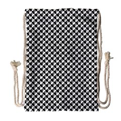 Black and White Checkerboard Weimaraner Drawstring Bag (Large)