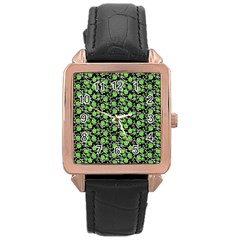 Roses pattern Rose Gold Leather Watch