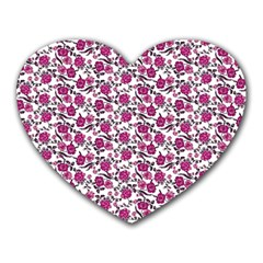 Roses pattern Heart Mousepads