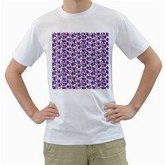 Roses pattern Men s T-Shirt (White) (Two Sided)