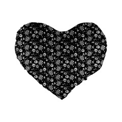 Roses pattern Standard 16  Premium Flano Heart Shape Cushions