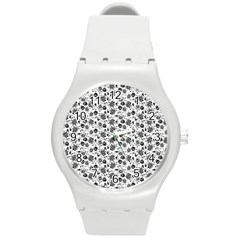 Roses pattern Round Plastic Sport Watch (M)
