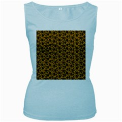 Roses pattern Women s Baby Blue Tank Top