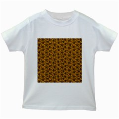 Roses pattern Kids White T-Shirts