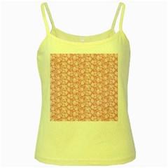 Roses pattern Yellow Spaghetti Tank