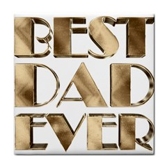 Best Dad Ever Gold Look Elegant Typography Tile Coasters