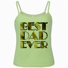 Best Dad Ever Gold Look Elegant Typography Green Spaghetti Tank