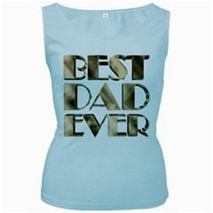 Best Dad Ever Gold Look Elegant Typography Women s Baby Blue Tank Top