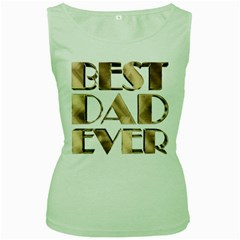 Best Dad Ever Gold Look Elegant Typography Women s Green Tank Top
