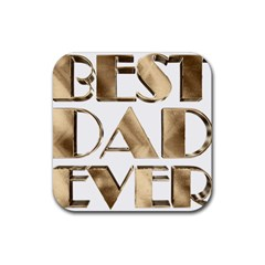 Best Dad Ever Gold Look Elegant Typography Rubber Square Coaster (4 pack)