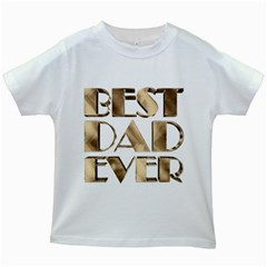 Best Dad Ever Gold Look Elegant Typography Kids White T-Shirts