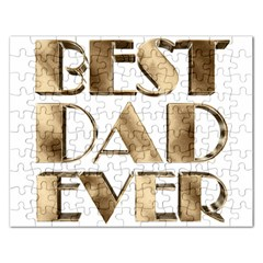 Best Dad Ever Gold Look Elegant Typography Rectangular Jigsaw Puzzl