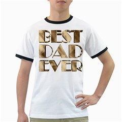 Best Dad Ever Gold Look Elegant Typography Ringer T-Shirts