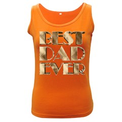 Best Dad Ever Gold Look Elegant Typography Women s Dark Tank Top