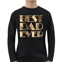 Best Dad Ever Gold Look Elegant Typography Long Sleeve Dark T-Shirts