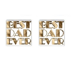Best Dad Ever Gold Look Elegant Typography Cufflinks (Square)