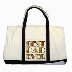 Best Dad Ever Gold Look Elegant Typography Two Tone Tote Bag