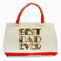 Best Dad Ever Gold Look Elegant Typography Classic Tote Bag (Red)