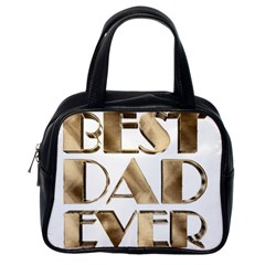 Best Dad Ever Gold Look Elegant Typography Classic Handbags (One Side)