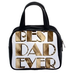 Best Dad Ever Gold Look Elegant Typography Classic Handbags (2 Sides)