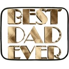 Best Dad Ever Gold Look Elegant Typography Fleece Blanket (Mini)