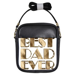 Best Dad Ever Gold Look Elegant Typography Girls Sling Bags