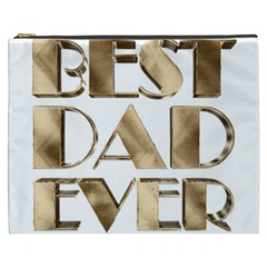 Best Dad Ever Gold Look Elegant Typography Cosmetic Bag (XXXL)