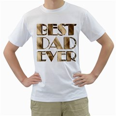 Best Dad Ever Gold Look Elegant Typography Men s T-Shirt (White)