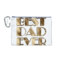 Best Dad Ever Gold Look Elegant Typography Canvas Cosmetic Bag (M)