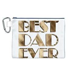 Best Dad Ever Gold Look Elegant Typography Canvas Cosmetic Bag (L)
