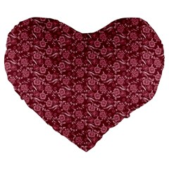 Roses pattern Large 19  Premium Heart Shape Cushions