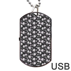 Roses pattern Dog Tag USB Flash (One Side)