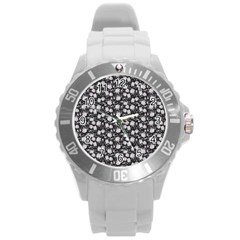 Roses pattern Round Plastic Sport Watch (L)