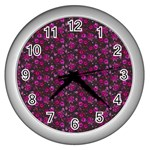 Roses pattern Wall Clocks (Silver)  Front