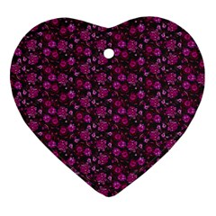 Roses pattern Heart Ornament (Two Sides)