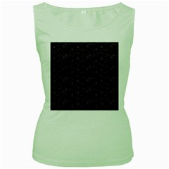 Roses pattern Women s Green Tank Top