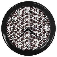 Roses pattern Wall Clocks (Black)