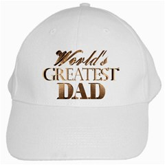 World s Greatest Dad Gold Look Text Elegant Typography White Cap