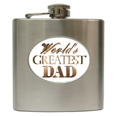World s Greatest Dad Gold Look Text Elegant Typography Hip Flask (6 oz)